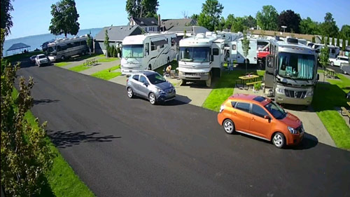 Parked RV on paved site